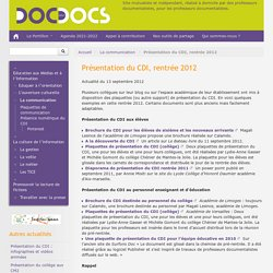 Présentation du CDI, rentrée 2012