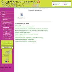 Sciences-Maths 38 [Présentation de ressources.] :..