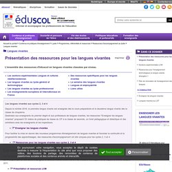 RUB. SITE Éduscol : Langues vivantes