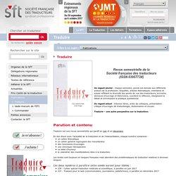 Présentation de la revue traduire - SFT