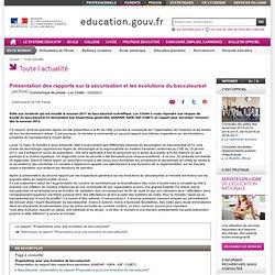 Présentation des rapports sur la sécurisation et les évolutions du baccalauréat