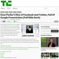 Sean Parker's Rise of Facebook And Twitter, Fall Of Google Prese