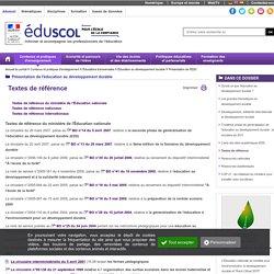 Éducation au développement durable - Textes de référence