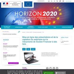 Mise en ligne des présentations et de la captation du webinaire sur le mécanisme de Soutien Financier à des tiers