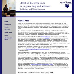 Effective Presentations in Engineering and Science: Guidelines and Video Examples - VISUAL AIDS
