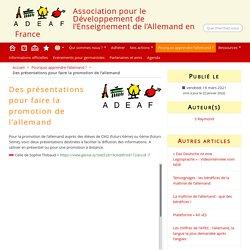 Des présentations pour faire la promotion de l'allemand - ADEAF
