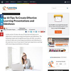 Top 10 Tips To Create Effective eLearning Presentations and Slideshows
