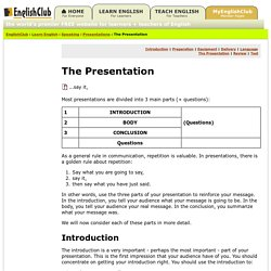 Presentations - The Presentation