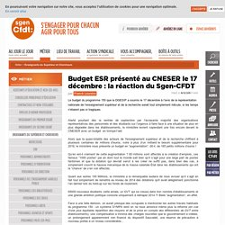 Budget ESR présenté au CNESER le 17 décembre : la réaction du Sgen-CFDT