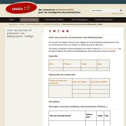 Citer ses sources et présenter une bibliographie (fiche élève collège)