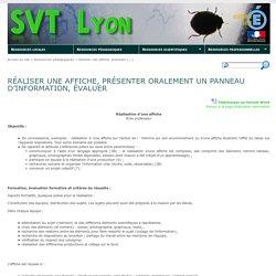 Réaliser une affiche, présenter oralement un panneau d'information, évaluer - SVT Lyon