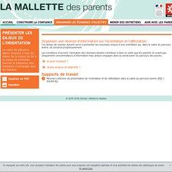 Présenter les enjeux de l'orientation - Mallette des Parents