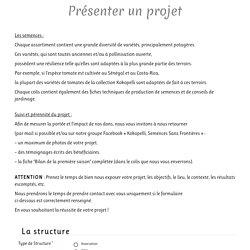 Présenter un projet – Semences Sans Frontières
