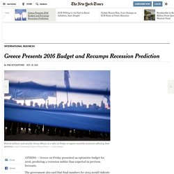 Greece Presents 2016 Budget and Revamps Recession Prediction