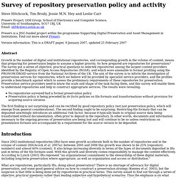 Preserv Repository Survey Results