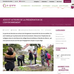 Ados et acteurs de la préservation de l'environnement