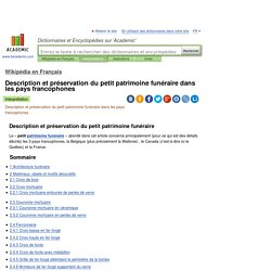 Description et préservation du petit patrimoine funéraire dans les pays francophones