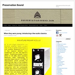 information and ideas about audio history