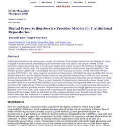 Digital Preservation Service Provider Models for Institutional Repositories: Towards Distributed Services
