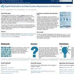 Digital Preservation and Data Curation Requirements and Solutions - Practical Preservation Issues - Confluence