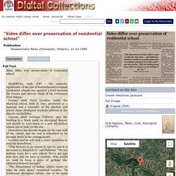 """""""Sides differ over preservation of residential school"""": Six Nations Public Library-Digital Archive"""
