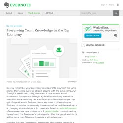 Preserving Team Knowledge in the Gig Economy