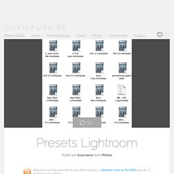 Presets Lightroom à télécharger | Guymauve.be