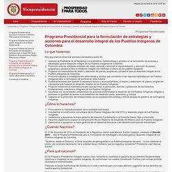 Programa Presidencial para la formulación de estrategias y acciones para el desarrollo integral de los Pueblos Indígenas de Colombia