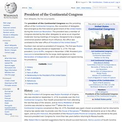 President of the Continental Congress - Wikipedia