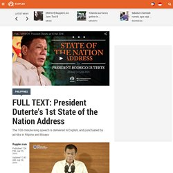 FULL TEXT: President Duterte's 1st State of the Nation Address