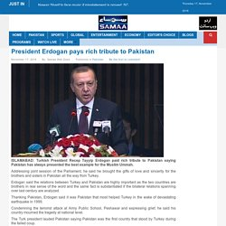President Erdogan pays rich tribute to Pakistan