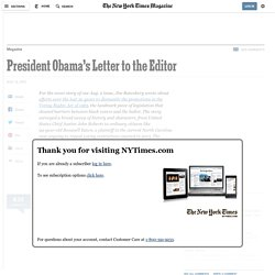 President Obama's Letter to the Editor
