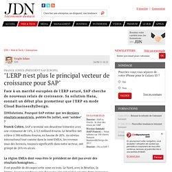 """""""L'ERP n'est plus le principal vecteur de croissance pour SAP"""" - Journal du Net Solutions"""
