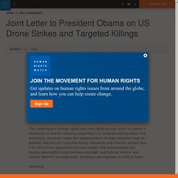 Joint Letter to President Obama on US Drone Strikes and Targeted Killings