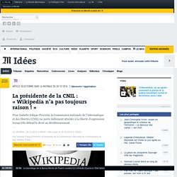 La présidente de la CNIL: «Wikipedia n'a pas toujours raison!»