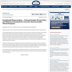 National Insider Threat Policy and Minimum Standards for Executive Branch Insider Threat Programs
