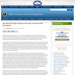 Presidential Order Balances Security and Scientific Enterprise