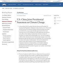 U.S.-China Joint Presidential Statement on Climate Change