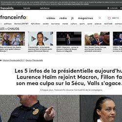 Les 5infos de la présidentielle aujourd'hui: Laurence Haïm rejoint Macron, Fillon fait son mea culpa sur la Sécu, Valls s'agace...