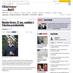 Maxime Verner, 21 ans, candidat à l'élection présidentielle