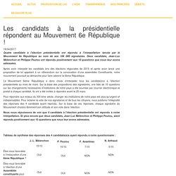 Les candidats à la présidentielle répondent au Mouvement 6e République !