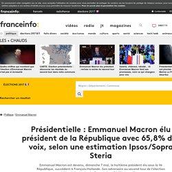Présidentielle : Emmanuel Macron élu président de la République avec 65,8% des voix, selon une estimation Ipsos/Sopra Steria