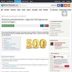 Elections présidentielles : règle des 500 signatures et parrainages