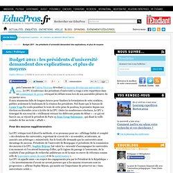 Budget 2011 : les présidents d'université demandent des explications, et plus de moyens