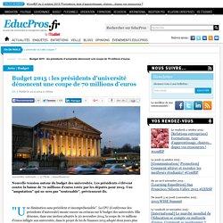 Budget 2015 : les présidents d'université dénoncent une coupe de 70 millions d'euros