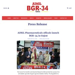 Press Release of BGR34 Anti-diabetic ayurvedic medicine – BGR-34