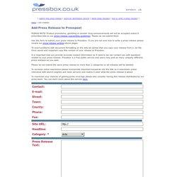 Pressbox : Add a Press Release