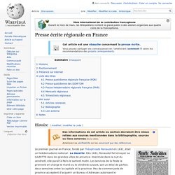 Presse écrite régionale en France