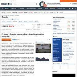 Presse : Google menace les sites d'information français !