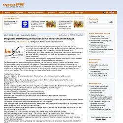 Steigender Elektrosmog im Haushalt durch neue Funkanwendungen - Pressemitteilung von Biolysa e.V.